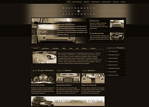 Performance Electronics website homepage.