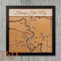 Engraved Dimensional Map of Honeoye Falls